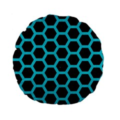 HEXAGON2 BLACK MARBLE & TURQUOISE COLORED PENCIL (R) Standard 15  Premium Flano Round Cushions