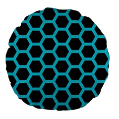 HEXAGON2 BLACK MARBLE & TURQUOISE COLORED PENCIL (R) Large 18  Premium Flano Round Cushions