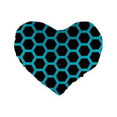 HEXAGON2 BLACK MARBLE & TURQUOISE COLORED PENCIL (R) Standard 16  Premium Flano Heart Shape Cushions
