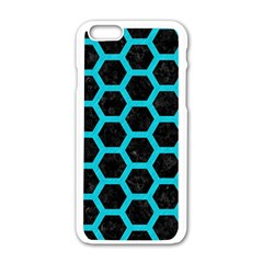 HEXAGON2 BLACK MARBLE & TURQUOISE COLORED PENCIL (R) Apple iPhone 6/6S White Enamel Case