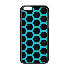 HEXAGON2 BLACK MARBLE & TURQUOISE COLORED PENCIL (R) Apple iPhone 6/6S Black Enamel Case