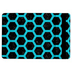 HEXAGON2 BLACK MARBLE & TURQUOISE COLORED PENCIL (R) iPad Air 2 Flip
