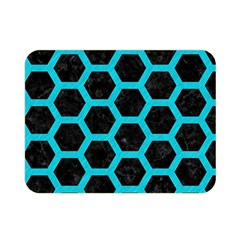HEXAGON2 BLACK MARBLE & TURQUOISE COLORED PENCIL (R) Double Sided Flano Blanket (Mini)