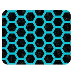 HEXAGON2 BLACK MARBLE & TURQUOISE COLORED PENCIL (R) Double Sided Flano Blanket (Medium)