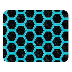 Hexagon2 Black Marble & Turquoise Colored Pencil (r) Double Sided Flano Blanket (large)  by trendistuff
