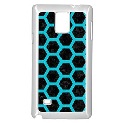 HEXAGON2 BLACK MARBLE & TURQUOISE COLORED PENCIL (R) Samsung Galaxy Note 4 Case (White)