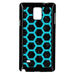HEXAGON2 BLACK MARBLE & TURQUOISE COLORED PENCIL (R) Samsung Galaxy Note 4 Case (Black)