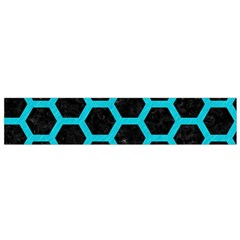 HEXAGON2 BLACK MARBLE & TURQUOISE COLORED PENCIL (R) Small Velour Scarf