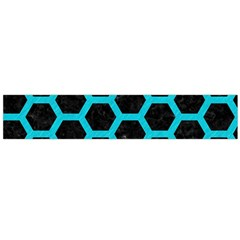 HEXAGON2 BLACK MARBLE & TURQUOISE COLORED PENCIL (R) Large Velour Scarf