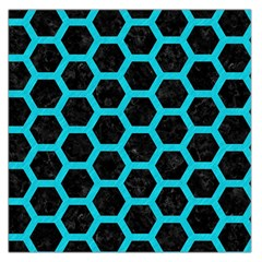 HEXAGON2 BLACK MARBLE & TURQUOISE COLORED PENCIL (R) Large Satin Scarf (Square)