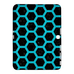HEXAGON2 BLACK MARBLE & TURQUOISE COLORED PENCIL (R) Samsung Galaxy Tab 4 (10.1 ) Hardshell Case