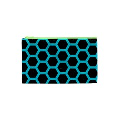 HEXAGON2 BLACK MARBLE & TURQUOISE COLORED PENCIL (R) Cosmetic Bag (XS)