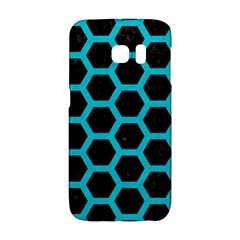 HEXAGON2 BLACK MARBLE & TURQUOISE COLORED PENCIL (R) Galaxy S6 Edge