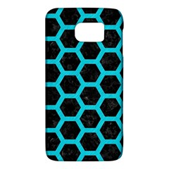 HEXAGON2 BLACK MARBLE & TURQUOISE COLORED PENCIL (R) Galaxy S6