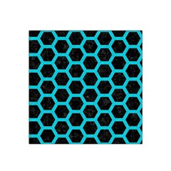 HEXAGON2 BLACK MARBLE & TURQUOISE COLORED PENCIL (R) Satin Bandana Scarf