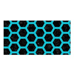 HEXAGON2 BLACK MARBLE & TURQUOISE COLORED PENCIL (R) Satin Shawl