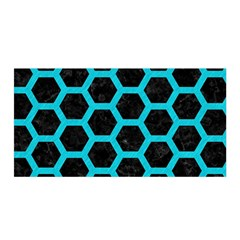 HEXAGON2 BLACK MARBLE & TURQUOISE COLORED PENCIL (R) Satin Wrap
