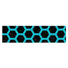 HEXAGON2 BLACK MARBLE & TURQUOISE COLORED PENCIL (R) Satin Scarf (Oblong)