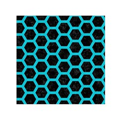 HEXAGON2 BLACK MARBLE & TURQUOISE COLORED PENCIL (R) Small Satin Scarf (Square)
