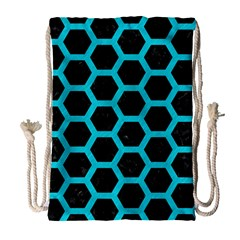 HEXAGON2 BLACK MARBLE & TURQUOISE COLORED PENCIL (R) Drawstring Bag (Large)