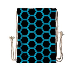 HEXAGON2 BLACK MARBLE & TURQUOISE COLORED PENCIL (R) Drawstring Bag (Small)