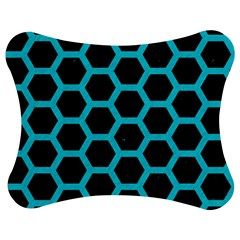 HEXAGON2 BLACK MARBLE & TURQUOISE COLORED PENCIL (R) Jigsaw Puzzle Photo Stand (Bow)