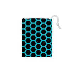 HEXAGON2 BLACK MARBLE & TURQUOISE COLORED PENCIL (R) Drawstring Pouches (XS)
