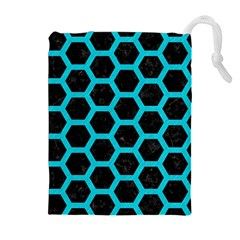 HEXAGON2 BLACK MARBLE & TURQUOISE COLORED PENCIL (R) Drawstring Pouches (Extra Large)
