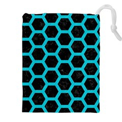 HEXAGON2 BLACK MARBLE & TURQUOISE COLORED PENCIL (R) Drawstring Pouches (XXL)