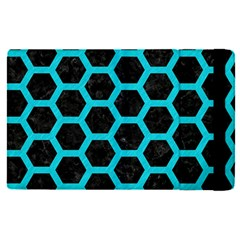 HEXAGON2 BLACK MARBLE & TURQUOISE COLORED PENCIL (R) Apple iPad Pro 12.9   Flip Case