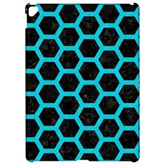 HEXAGON2 BLACK MARBLE & TURQUOISE COLORED PENCIL (R) Apple iPad Pro 12.9   Hardshell Case