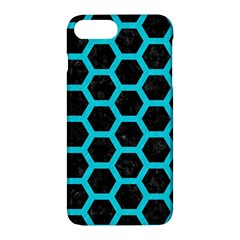 HEXAGON2 BLACK MARBLE & TURQUOISE COLORED PENCIL (R) Apple iPhone 7 Plus Hardshell Case