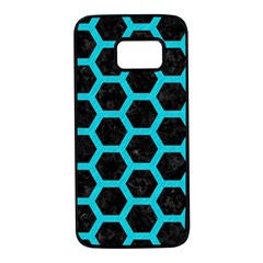 HEXAGON2 BLACK MARBLE & TURQUOISE COLORED PENCIL (R) Samsung Galaxy S7 Black Seamless Case