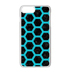 HEXAGON2 BLACK MARBLE & TURQUOISE COLORED PENCIL (R) Apple iPhone 7 Plus Seamless Case (White)