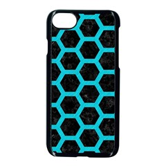 HEXAGON2 BLACK MARBLE & TURQUOISE COLORED PENCIL (R) Apple iPhone 7 Seamless Case (Black)