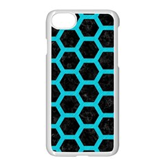 HEXAGON2 BLACK MARBLE & TURQUOISE COLORED PENCIL (R) Apple iPhone 7 Seamless Case (White)
