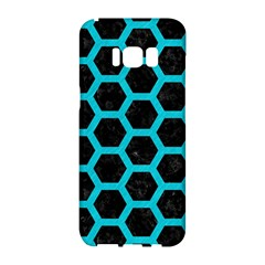 HEXAGON2 BLACK MARBLE & TURQUOISE COLORED PENCIL (R) Samsung Galaxy S8 Hardshell Case