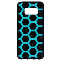 HEXAGON2 BLACK MARBLE & TURQUOISE COLORED PENCIL (R) Samsung Galaxy S8 Black Seamless Case
