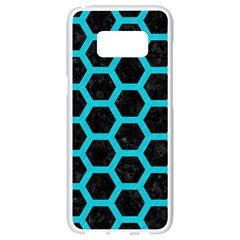 HEXAGON2 BLACK MARBLE & TURQUOISE COLORED PENCIL (R) Samsung Galaxy S8 White Seamless Case
