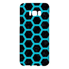 HEXAGON2 BLACK MARBLE & TURQUOISE COLORED PENCIL (R) Samsung Galaxy S8 Plus Hardshell Case
