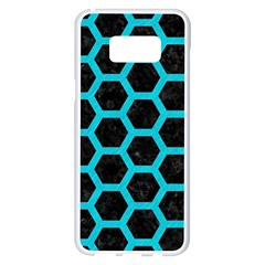 HEXAGON2 BLACK MARBLE & TURQUOISE COLORED PENCIL (R) Samsung Galaxy S8 Plus White Seamless Case