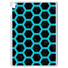 HEXAGON2 BLACK MARBLE & TURQUOISE COLORED PENCIL (R) Apple iPad Pro 9.7   White Seamless Case