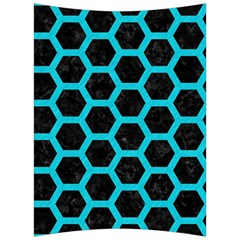HEXAGON2 BLACK MARBLE & TURQUOISE COLORED PENCIL (R) Back Support Cushion
