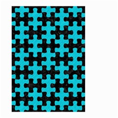 Puzzle1 Black Marble & Turquoise Colored Pencil Small Garden Flag (two Sides) by trendistuff