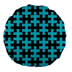 Puzzle1 Black Marble & Turquoise Colored Pencil Large 18  Premium Round Cushions by trendistuff