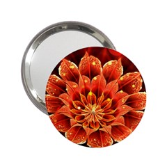 Beautiful Ruby Red Dahlia Fractal Lotus Flower 2 25  Handbag Mirrors by jayaprime