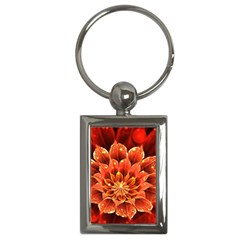 Beautiful Ruby Red Dahlia Fractal Lotus Flower Key Chains (rectangle)
