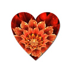 Beautiful Ruby Red Dahlia Fractal Lotus Flower Heart Magnet by jayaprime