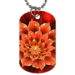 Beautiful Ruby Red Dahlia Fractal Lotus Flower Dog Tag (one Side) by jayaprime