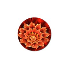 Beautiful Ruby Red Dahlia Fractal Lotus Flower Golf Ball Marker by jayaprime